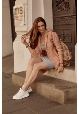 Teplý sveter s kapucňou, bez zapínania, ružový