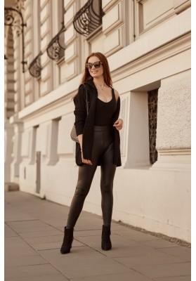 Teplý sveter s kapucňou, bez zapínania, čierny
