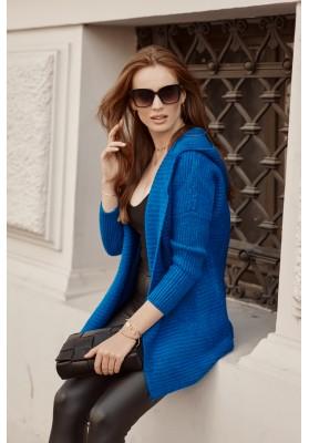 Teplý sveter s kapucňou, bez zapínania, modrý