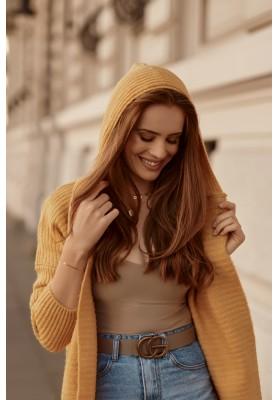 Teplý sveter s kapucňou, bez zapínania, žltý