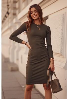 Basic sukienka prążkowana z długim rękawem khaki FG548