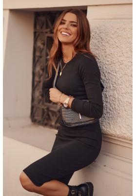 Vypasované, základné šaty s dlhými rukávmi a polkruhovým výstrihom, čierne