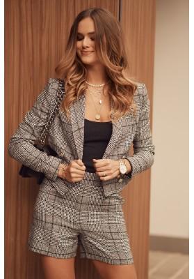 Krátke dámske sako s károvaným vzorom, čierne
