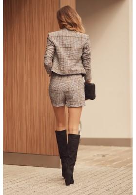 Krátke dámske sako s károvaným vzorom, čierne/bordové
