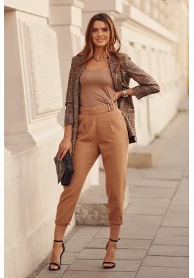 Módne nohavice voľného strihu, hnedé