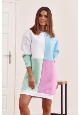 Bavlnená tunika s farebnými vsadeniami a s polkruhovým výstrihom, biela