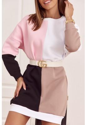 Bavlnená tunika s farebnými vsadeniami a s polkruhovým výstrihom, ružová