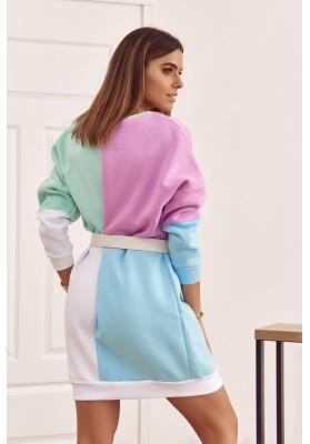Bavlnená tunika s farebnými vsadeniami a s polkruhovým výstrihom, fialová