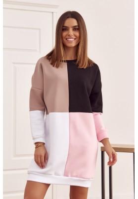Bavlnená tunika s farebnými vsadeniami a s polkruhovým výstrihom, béžová