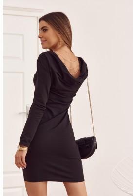 Bavlnené šaty s výstrihom na chrbte, čierne