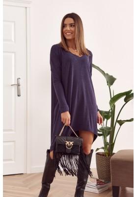 Oversize šaty s dlhším zadným dielom a výstrihom v tvare písmena V, modré