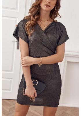 Čierno-zlaté glamour šaty z nádherne trblietavého materiálu