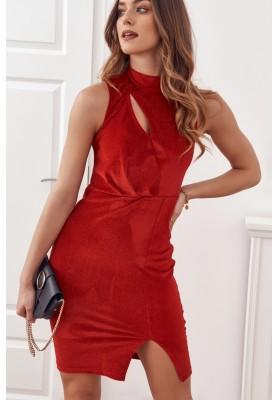 Elegantné šaty s červenými trblietkami