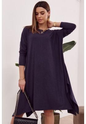 Moderné šaty s rozparkom tvoriacim slzu na chrbte, modré