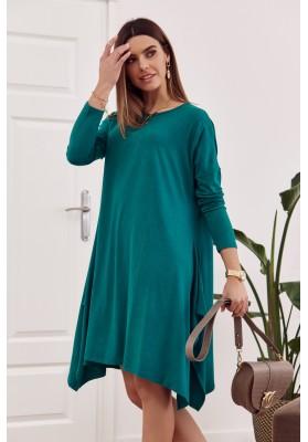 Moderné šaty s rozparkom tvoriacim slzu na chrbte, zelené