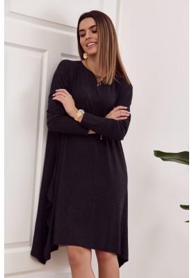 Moderné šaty s rozparkom tvoriacim slzu na chrbte, čierne