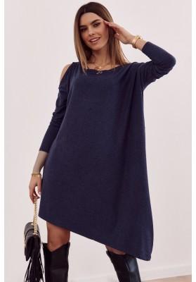Asymetrické oversize šaty s odhalenou časťou na ramene, modré