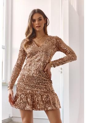 Zlaté šaty z velúrovej látky potiahnuté flitrami