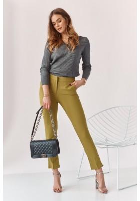 Úzke nohavice s naznačenými záhybmi, zelené