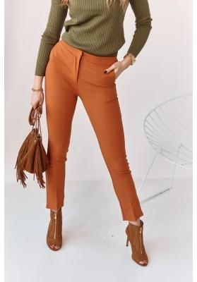 Úzke nohavice s naznačenými záhybmi, oranžové
