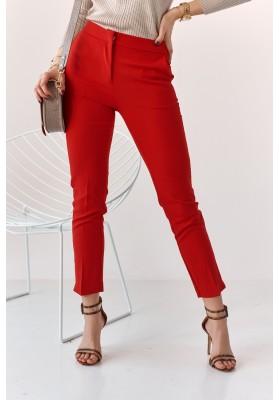 Úzke nohavice s naznačenými záhybmi, červené