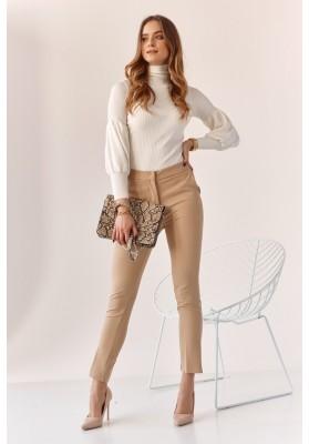 Úzke nohavice s naznačenými záhybmi, béžové