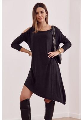 Asymetrické oversize šaty s odhalenou časťou na ramene, čierne