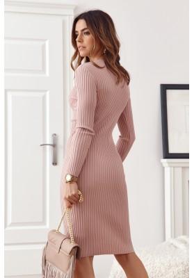 Vypasované, ružové, základné šaty s dlhými rukávmi
