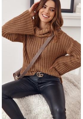 Teplý rolákový sveter voľného strihu, hnedý