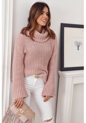 Teplý rolákový sveter voľného strihu, ružový