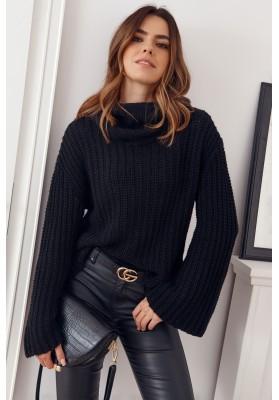 Teplý rolákový sveter voľného strihu, čierny
