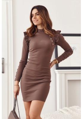 Základné, puzdrové, rolákové šaty s dlhými rukávmi, hnedé