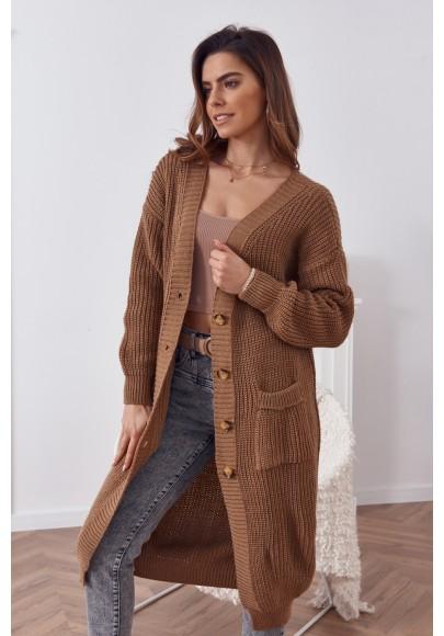 Dlhý teplý sveter so zapínaním na gombíky, hnedý