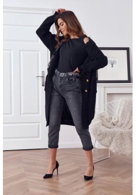 Dlhý teplý sveter so zapínaním na gombíky, čierny