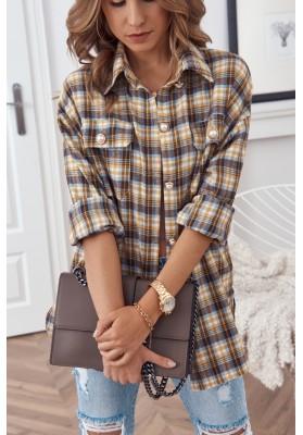 Trendy károvaná košeľa, sa zapína na perleťové gombíky, žltá