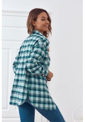 Trendy károvaná košeľa, sa zapína na perleťové gombíky, zelená