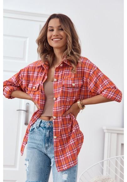 Trendy károvaná košeľa, sa zapína na perleťové gombíky, oranžová