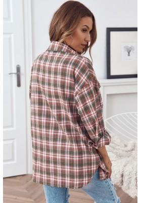 Trendy károvaná košeľa, sa zapína na perleťové gombíky, khaki