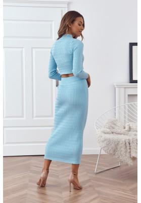 Pletená dámska súprava so sukňou a topom, modrá