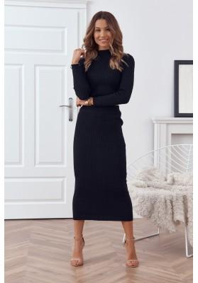 Pletená dámska súprava so sukňou a topom, čierna