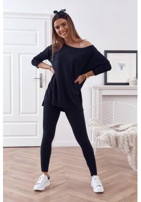Pohodlná súprava pletenej blúzky s nohavicami, čierna