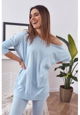 Pohodlná súprava pletenej blúzky s nohavicami, modrá