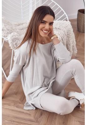 Pohodlná súprava pletenej blúzky s nohavicami, sivá
