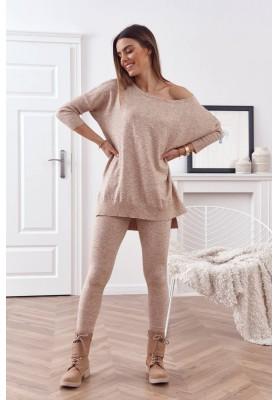 Pohodlná súprava pletenej blúzky s nohavicami, béžová