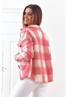 Ružová károvaná bunda s golierom vo výstrihu