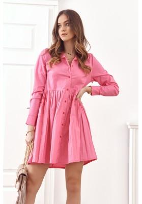Oversize, košeľové šaty o zapínaním na gombíky, ružová