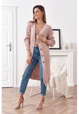 Dlhý teplý sveter so zapínaním na gombíky, ružový