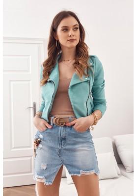 Nadčasová, ženská, krátka semišová bunda, zelená
