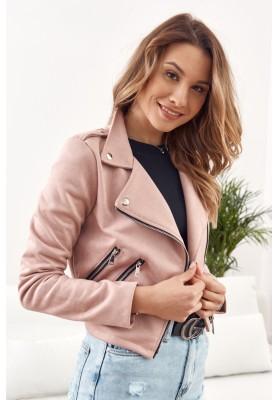 Nadčasová, ženská, krátka semišová bunda, ružová