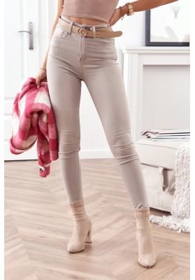 Obtiahnuté, rifľové nohavice s vysokým pásom, béžové